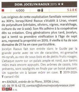 Domaine Jocelyn Raoux - Guide Hachette des Vins 2018 - Lirac Rouge