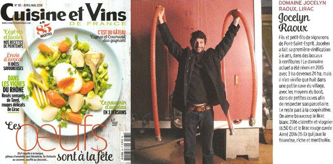 Cuisine et Vins de France - Avril Mai 2018 - Domaine Jocelyn Raoux Lirac