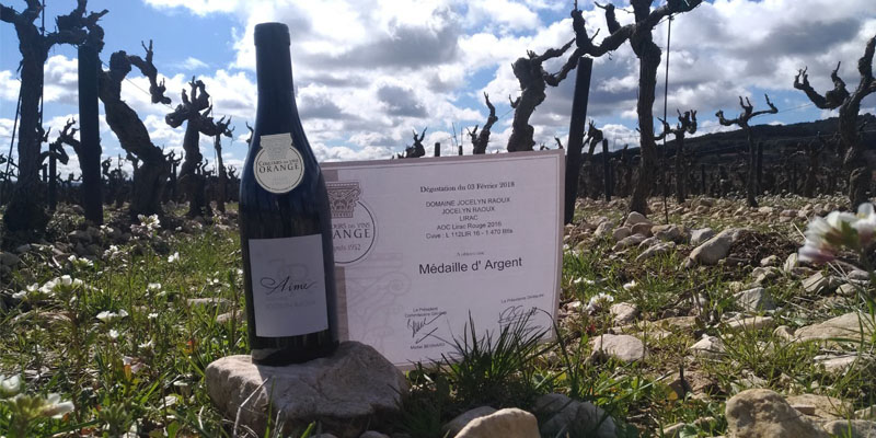 Médaille d'argent pour la Cuvée Aimé 2016- Concours des Vins d'Orange - Domaine Jocelyn Raoux